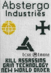 Assassins Creed Abstergo Cross Stitch Poster by Lord Libidan