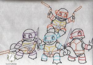 Teenage Mutant Ninja Squirtles Embroidery by Lord Libidan