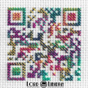 Psychedelic QR Code Cross Stitch by Lord Libidan