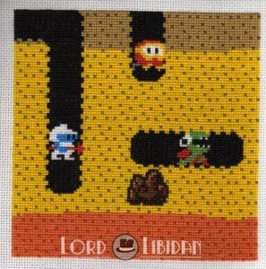 Dig-Dug Cross Stitch Charity Square by Lord Libidan