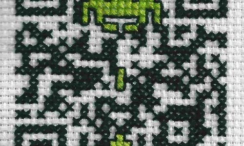 Space Invader QR Code Cross Stitch by Lord Libidan