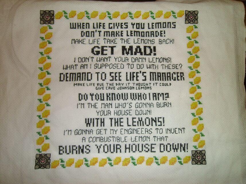 Portal 2 Lemon Rant Cross Stitch by benwermers (source: spritestitch.com)