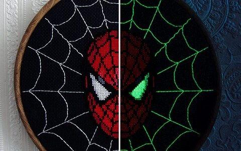 Spiderman Glow In The Dark Cross Stitch by stitchFIGHT (source: mrxstitch.com)