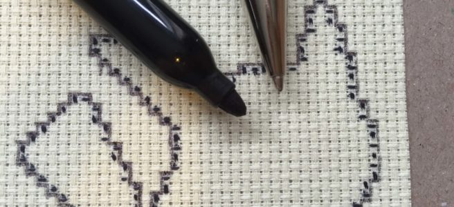 cross stitch waste canvas marked out with pen