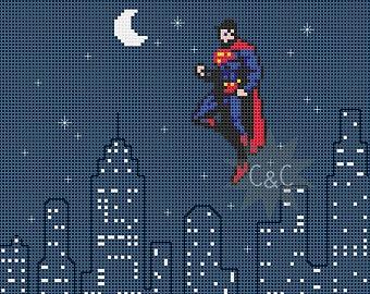 Superman Cross Stitch Pattern by SuperCross (source: Etsy.com)