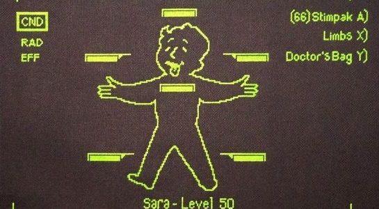Glow in the dark Fallout 3 Pipboy Cross Stitch by Crafter Dark (source: crafterdark.com.au)