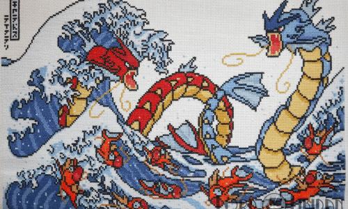 Pokemon Great Wave Cross Stitch by Lord Libidan