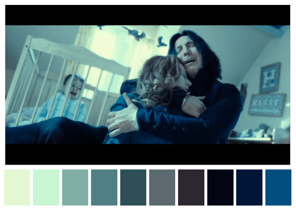 Harry Potter and the Deathly Hallows Color Palettes (source: @CINEMAPALETTES)