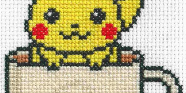 Pikachu Tea Cup Cross Stitch by Lord Libidan