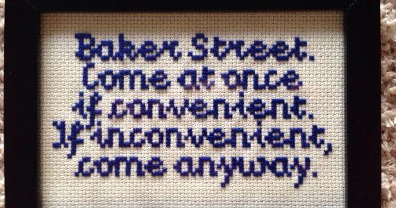 Sherlock Holmes Baker Street Cross Stitch (source: Etsy)