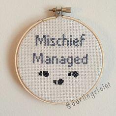 Mischief Managed Harry Potter Cross Stitch by DarlingVioletStitch (source: etsy)