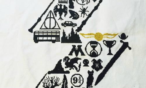 Harry Potter Sampler Cross Stitch by Christine, pattern by FeltLikeStitching (source: bookishlyboisterous.blogspot.com)