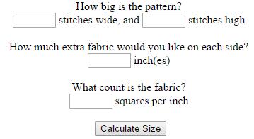 123Stitch Cross Stitch Calculator (source: 123stitch.com)