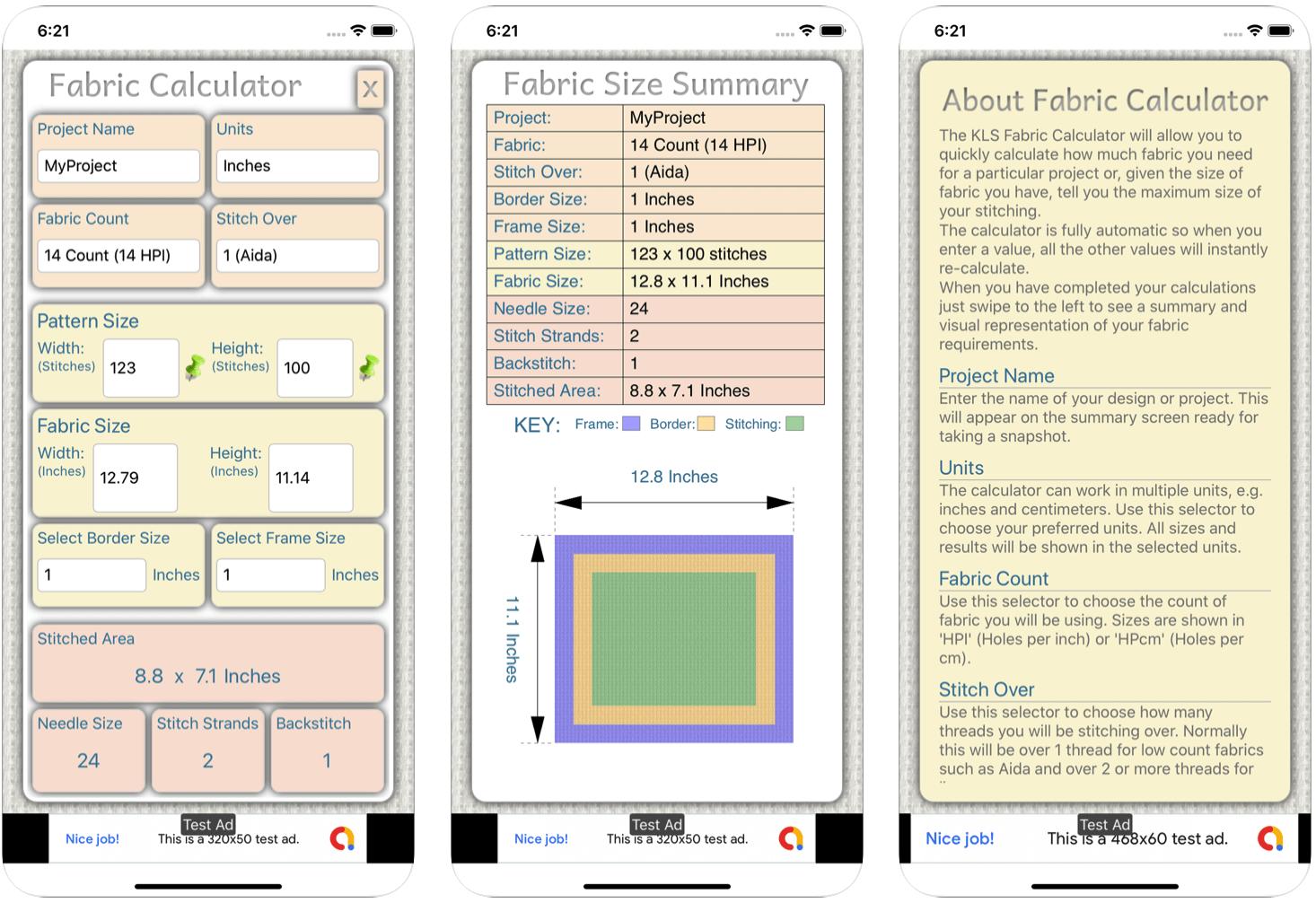 Fabric Calculator ios App Screenshots (Source: apps.apple.com)