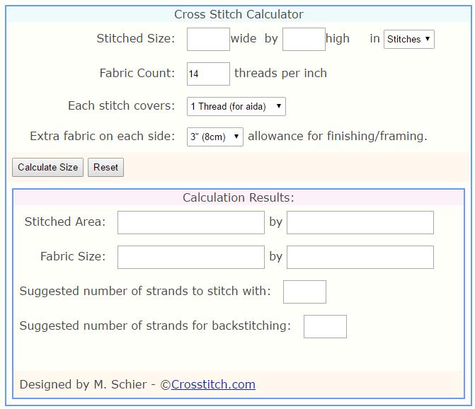 Crossstitch.com Cross Stitch Calculator (source: Crossstitch.com)