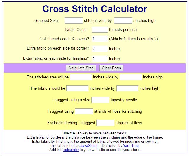 Yarn Tree Cross Stitch Calculator (source: yarntree.com)