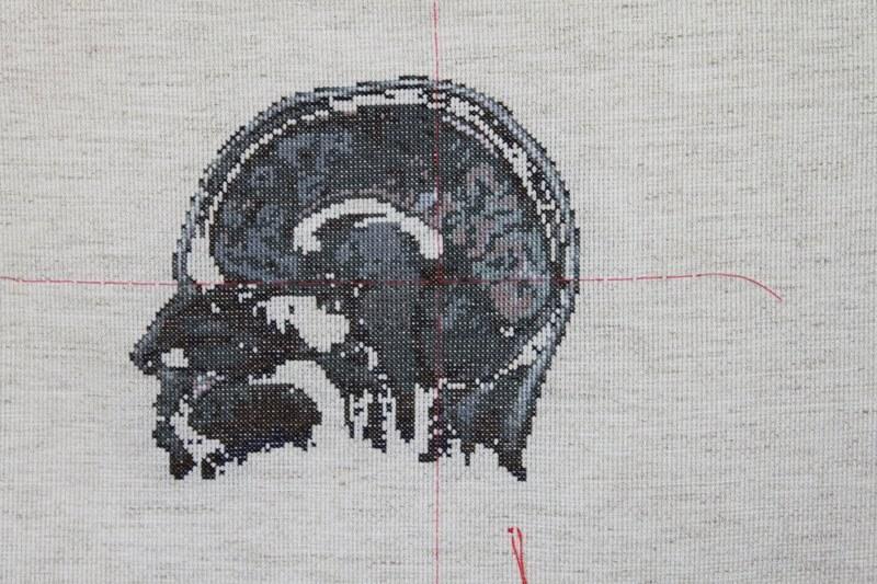 Lada Dedic – Self Portrait, Artist's Brain (2010) in Cross Stitch (source: mrxstitch)