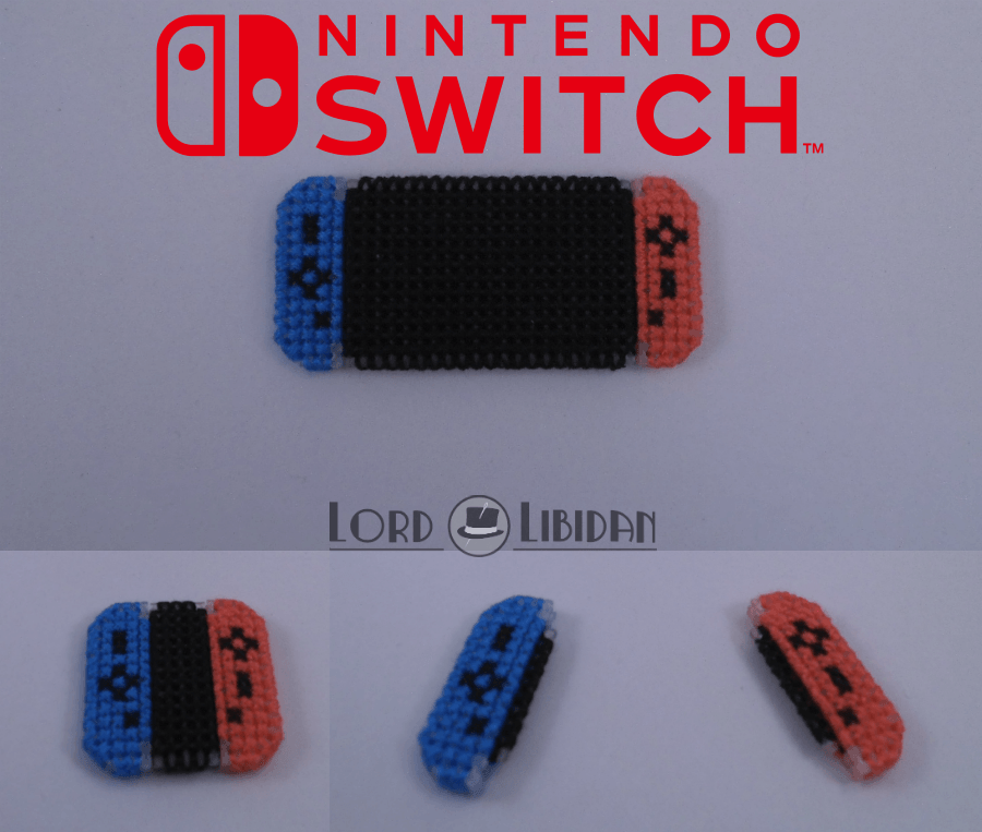 Title: Nintendo Switch Micro Console Date Completed: June 2018 Design: Lord Libidan Count: 14 Canvas: Plastic Colours: 3 Game: Nintendo Switch, Joycon Controllers