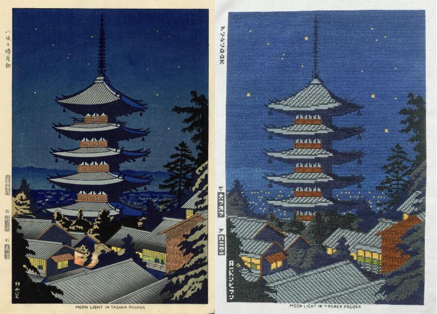 Moon Light In Yasaka Pagoda cross stitch by Lord Libidan comparison