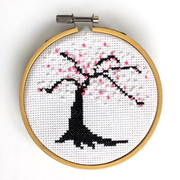 Cherry Blossom Cross Stitch by Peacock & Fig (source: peacockandfig.com)