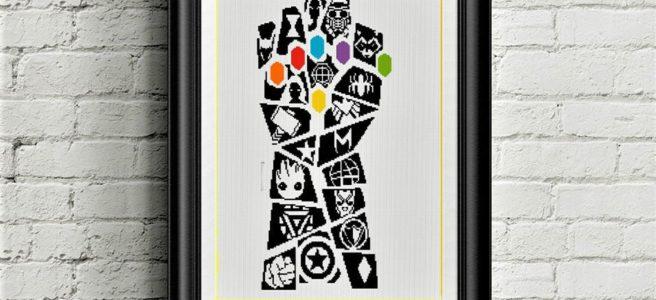 Marvel Thanos Gauntlet Cross Stitch Pattern by xstitch4love (Source: Etsy)