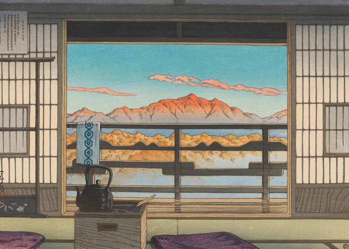 Morning at Hot Spring Resort in Arayu, by Hasui Kawase 1946 (Source: JapanObjects.com)