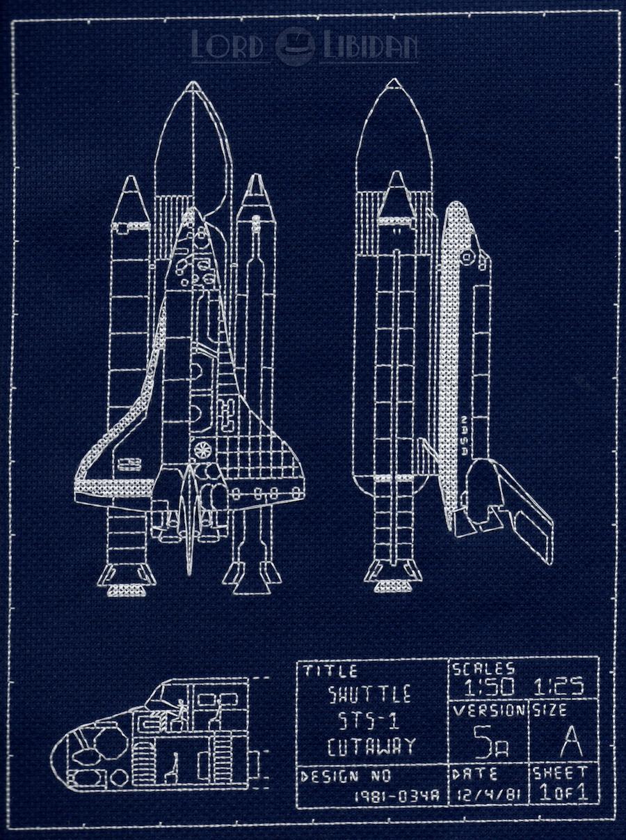 NASA Space Shuttle Blueprint Cross Stitch by Lord Libidan