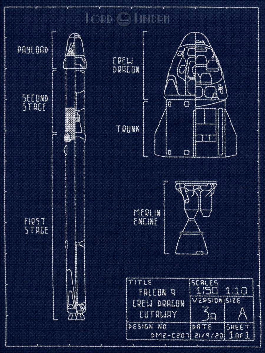 SpaceX Falcon 9 Dragon Crew Blueprint Cross Stitch by Lord Libidan