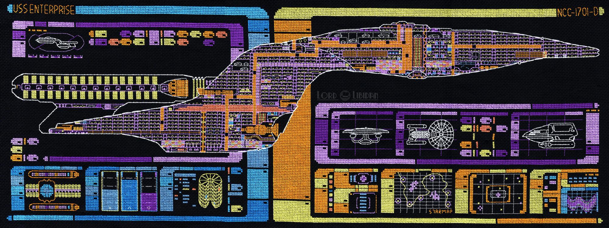 Star Trek Enterprise LCARS Ship Schematic Cross Stitch by Lord Libidan