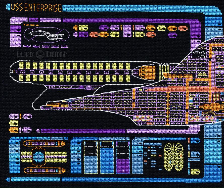 Star Trek Enterprise LCARS Ship Schematic Cross Stitch by Lord Libidan (Left Detail)
