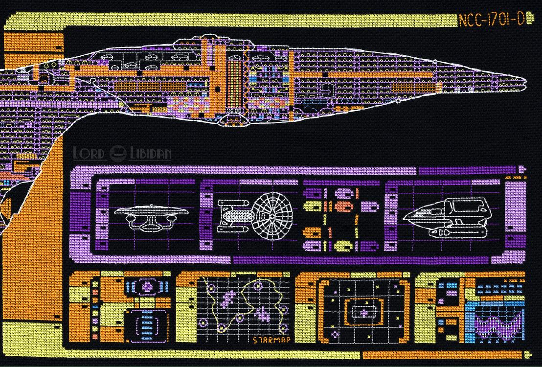 Star Trek Enterprise LCARS Ship Schematic Cross Stitch by Lord Libidan (Right Detail)