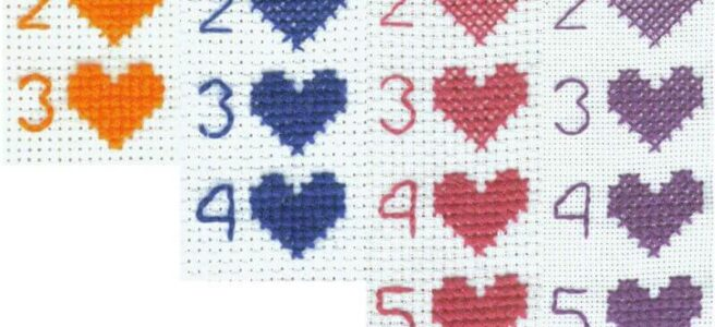Cross stitches with different amounts of strands of threads on 18 count aida, 14 count aida, 11 count aida and 9 count aida (Source: better-cross-stitch-patterns.com)